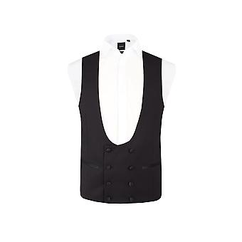 Dobell Mens Black Tuxedo Waistcoat Skinny Fit Double Breasted