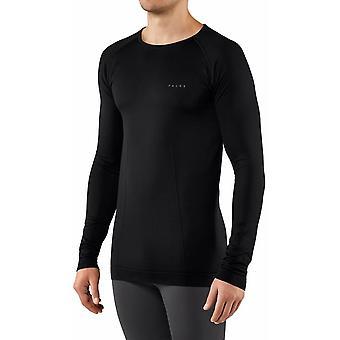 Falke Warming Rundhals langärmeliges Hemd - schwarz