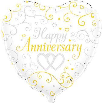 Oaktree 18 Inch Happy Anniversary Heart Shaped Foil Balloon