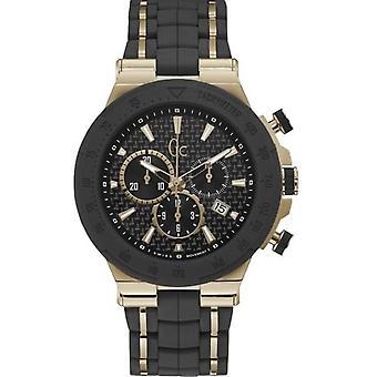 Relógio GC Y35001G2 - Structura pulseira de Bronze aço preto dial negro a capa em Silicone