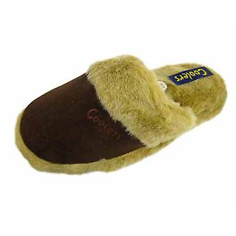 Coolers Womens Microsuede Faux Fur Lined Mule Style Slippers