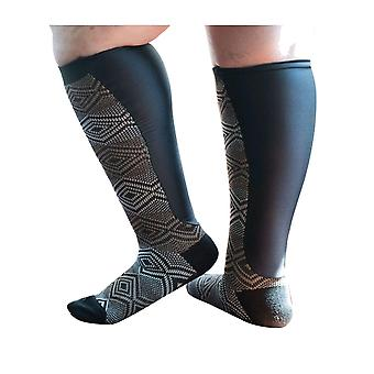 Xpandasox Patterned Support Socks or Lymphoedema Wrap Covers [Style F15305] Black Geometric  L