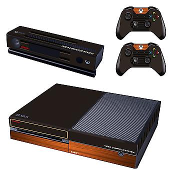 REYTID Console Skin / Sticker + 2 x Controller Decals & Kinect Wrap Compatible with Microsoft Xbox One - Full Set - Black Light Wood Effect