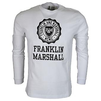 Franklin & Marshall Round Neck Crest Logo Long Sleeve White T-shirt