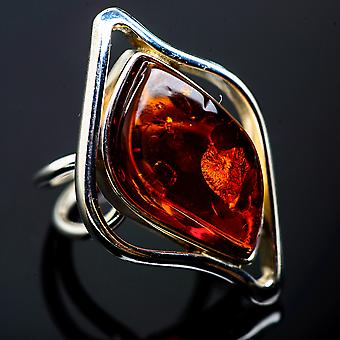 Huge Baltic Amber Ring Size 7 Adjustable (925 Sterling Silver)  - Handmade Boho Vintage Jewelry RING992262