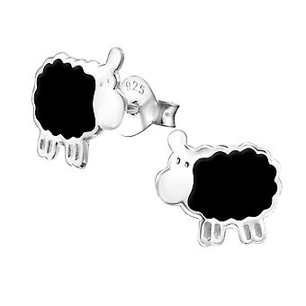 Sheep - 925 Sterling Silver Colourful Ear Studs - W13292x
