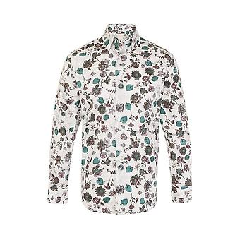 JSS Floral White Regular Fit 100% Cotton Shirt