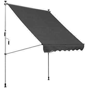 Outsunny 200 x 150cm Manual Awning Adjustable Height Angle Floor-To-Ceiling Shade Frame Grey