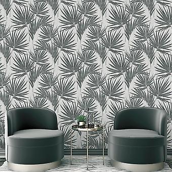 Aurora Palm Wallpaper Gunmetal Belgravia 4992