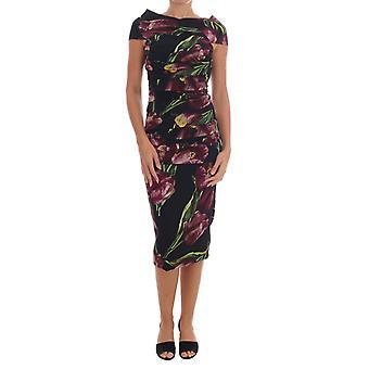 Dolce & Gabbana Czarny Jedwab Stretch Purple Tulipan Sheath Sukienka