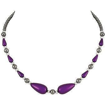Eternal Collection Eureka Purple Lucite And Hematite Beaded Necklace