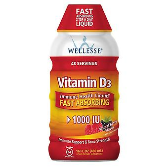 Wellesse vitamin d3 1000 iu, liquid, natural berry, 16 oz