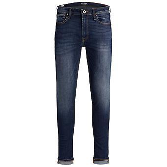 Jack och Jones Mens Super Skinny Jeans knapp fästa byxor byxor lätt