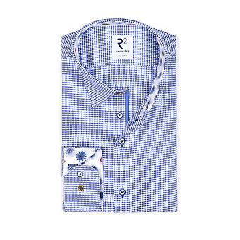 R2 Hidden Button Down Collar Long Sleeve Shirt Blue Check