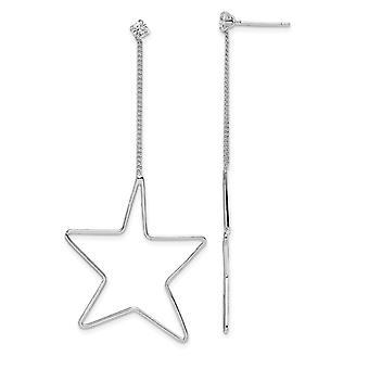 925 sterlinghopea rhodium päällystetty CZ cubic zirkonia simuloitu diamond star pitkä pudota dangle korvakorut koruja lahjoja