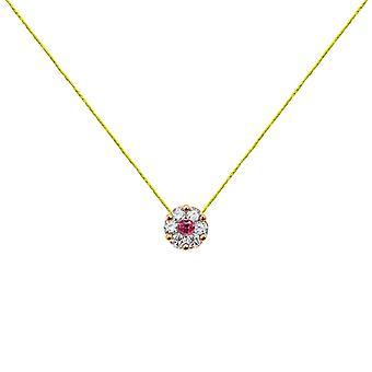 Collier Duchesse Full Diamonds sur Ruby et 18K Gold, On Thread - Rose Gold, NeonYellow