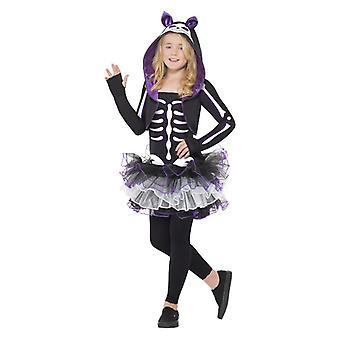 Dievčatá skelly mačka Halloween maškarný kostým