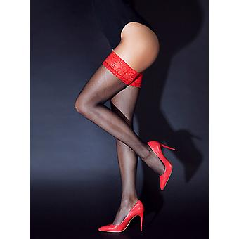 Hold-Up stockings with red lace