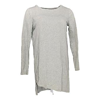 Anybody Women's Top Cozy Knit Angled Hi-Lo Hem Tee Gray A302197