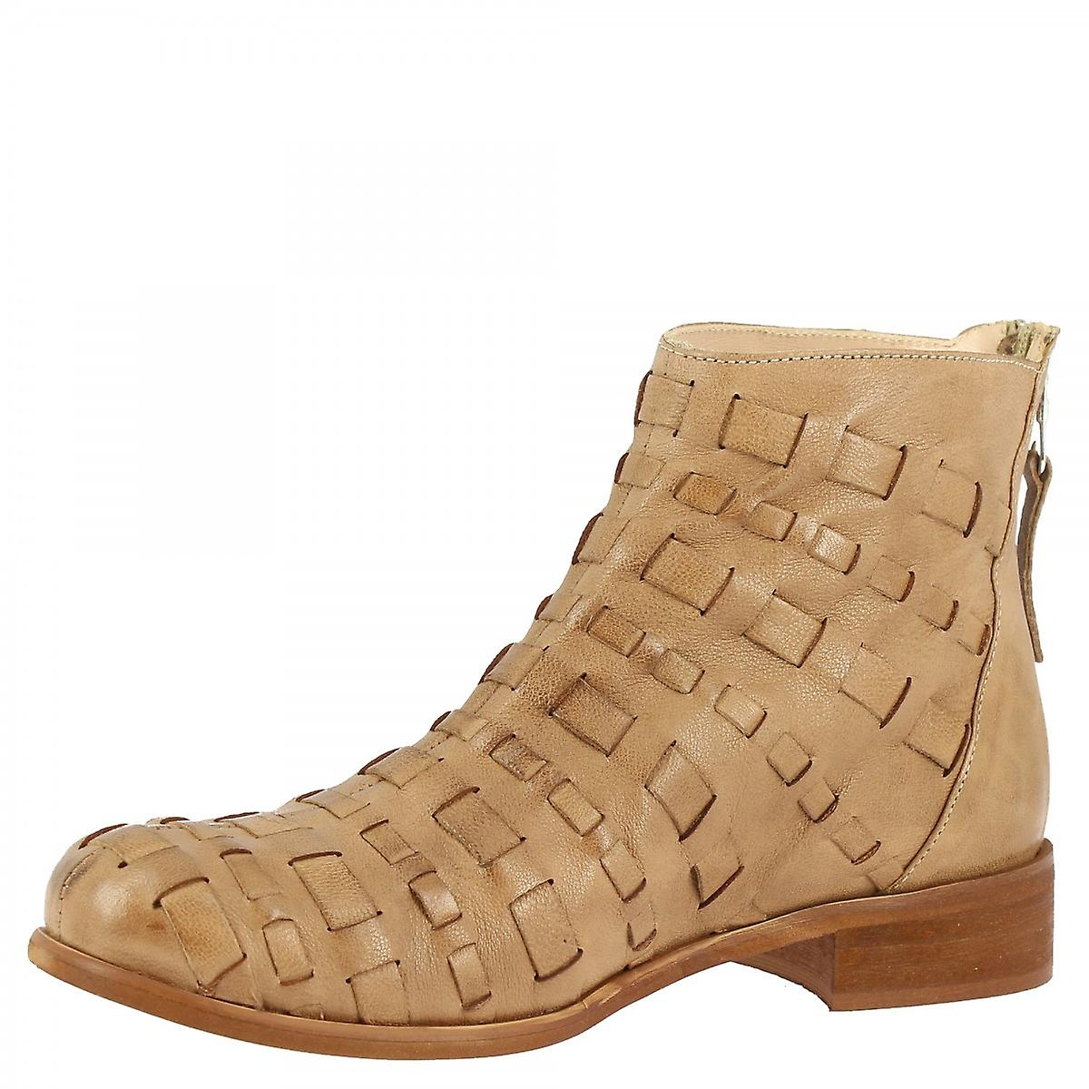 Leonardo Shoes Women's Handmade Ankle Boots Brown Calf Leather Back Zip Closure
