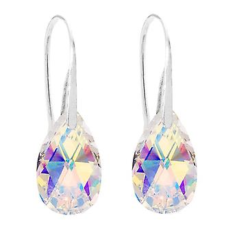 Ah! Jewellery Aurore Boreale Crystals From Swarovski Pear Fish Hook Earrings, Sterling Silver, Stamped 925