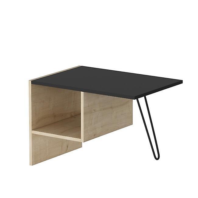 Tavolino da Caffe' Loop Color Rovere, Nero in Truciolare Melaminico, Metallo 71,8x50x45 cm