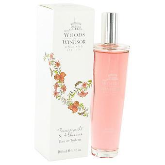 Pomegranate & Hibiscus Eau De Toilette Spray By Woods of Windsor 3.4 oz Eau De Toilette Spray