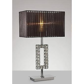 Florence Rectangle Table Lamp With Black Lampshade 1 Polished Chrome / Crystal Bulb