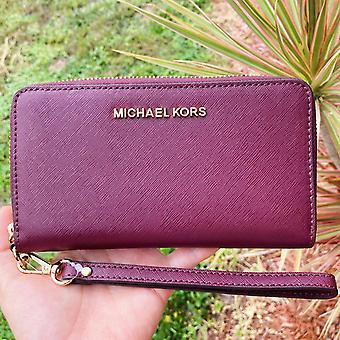 Michael kors jet set travel large phone wristlet wallet merlot saffiano