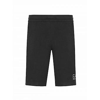 EA7 Black Logo Cotton Shorts