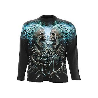 Espiral-espinha flamejante-t-shirt longo da luva