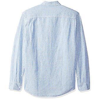 Essentials Menăs Slim-Fit Cu mâneci lungi Gingham Linen Shirt, Albastru, Mare