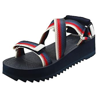 Tommy Jeans Degrade Tape Strap Womens Flatform Sandals in Navy