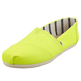 Toms Classic Vivid Canvas Womens Slip On Shoes in Neon