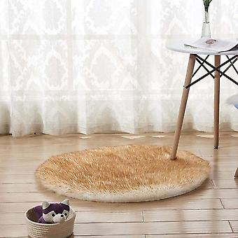 Round Soft Faux Sheepskin Fur Rugs For Bedroom Living Room Floor - Shaggy Silky Plush Carpet White Faux Fur Bedside Rugs