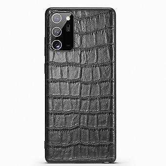 Para Samsung Galaxy Note 20 Case Genuíno Couro Crocodilo Textura Capa Preta