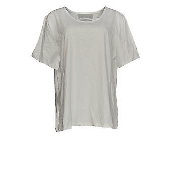 Denim & Co. Women's Top Essentials Short-Sleeve Scoop-Neck White A376301