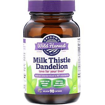 Oregon's Wild Harvest, Milk Thistle Dandelion, 90 Gelatin Capsules