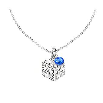 Ah! Jewellery Women's Sterling Silver Snowflake Necklace With Sapphire