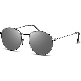 نظارات شمسية أحادية اللون جولة فضية / رمادي (CWI2141)
