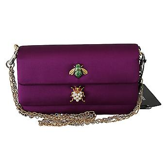 Purple dorina crystal embellished women purse bag