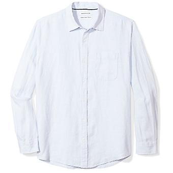 Essentials Mænd's Regular-Fit langærmet linned skjorte, lyseblå, XX-L...
