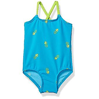 Essentials Baby Girl's One-Piece Swimsuit, Blue Pineapple, 18M