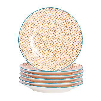 Nicola Spring 6 Piece Hand-Printed Side Plate Set - Japanese Style Porcelain Dessert Bread Plates - Orange - 18cm