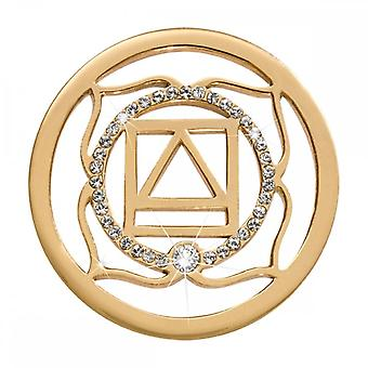 Nikki Lissoni 1 Chakra Muladhara Médio Ouro Banhado Coin C1493GM