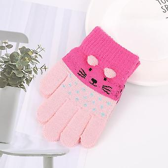 Children Kids Winter Warm Thicken Gloves Girls Boys Cute Cat Mittens Imitation Cashmere Finger Gloves For 1-7y