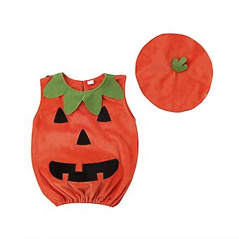 Microfiber Baby Girls Boys For Bebe - Pumpkin Suit Top Blouse Dress+hat Clothes