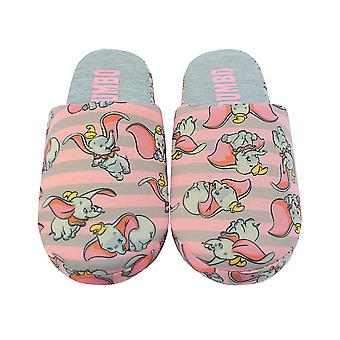 Disney Dumbo Slippers For Women | Ladies Grey & Pink Polyester Slip On House Shoes With Grip Sole | Adults Disney Gifts