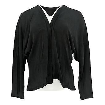 LOGO By Lori Goldstein Women's Open Front W/ Dolman Sleeves Black A387031