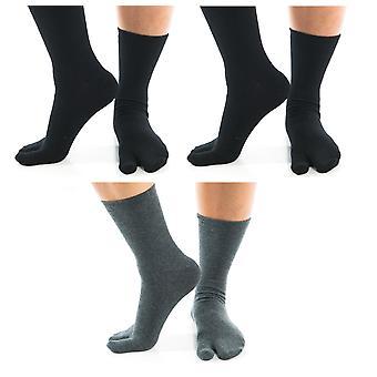 Flip Flop Tabi Ponožky - 2 Grey Crew, 1 černý kotník -3 páry
